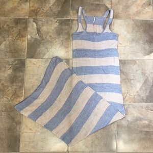 Free People Knit Striped Maxi Dress Tan Grey M